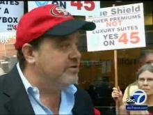 KGO TV-7 ABC SF - Prop 45 Supporters Protest Blue Shield's $2.5 Million 49ers Skybox