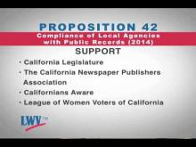 League of Women Voters of California: Proposition 42 Compliance of Local Agencies with Public Records -- CalChannel
